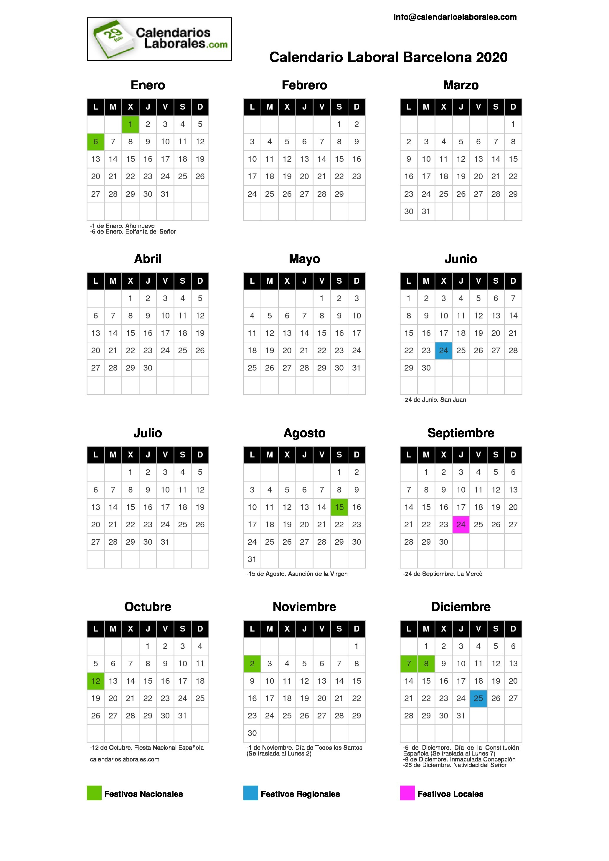 calendario laboral barcelona 2020