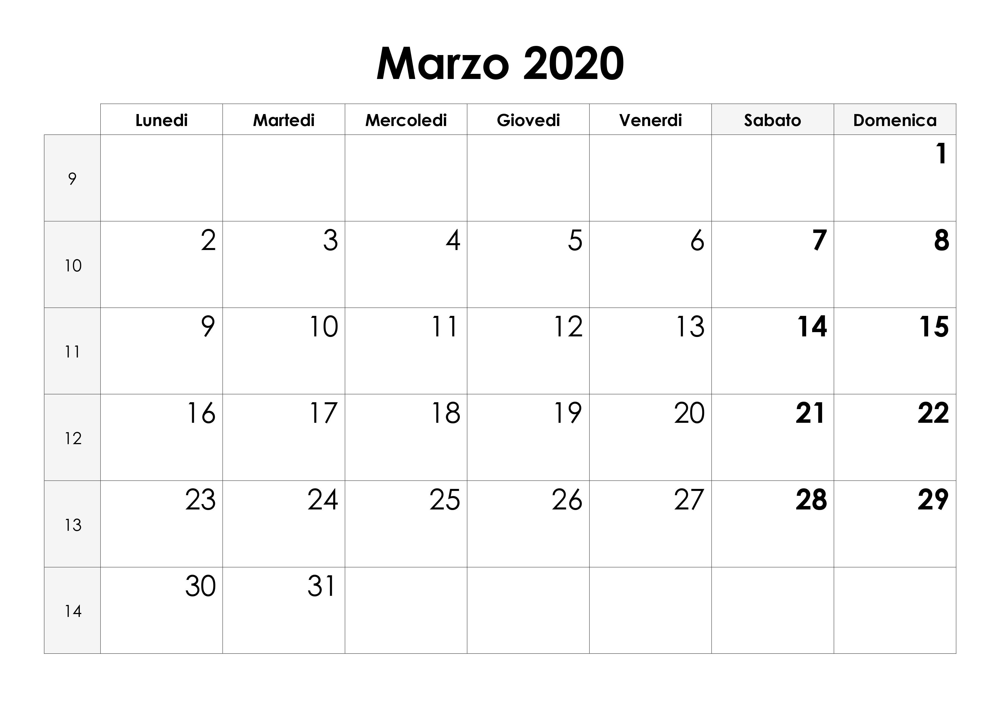 calendario marzo 2020 vuoto hor
