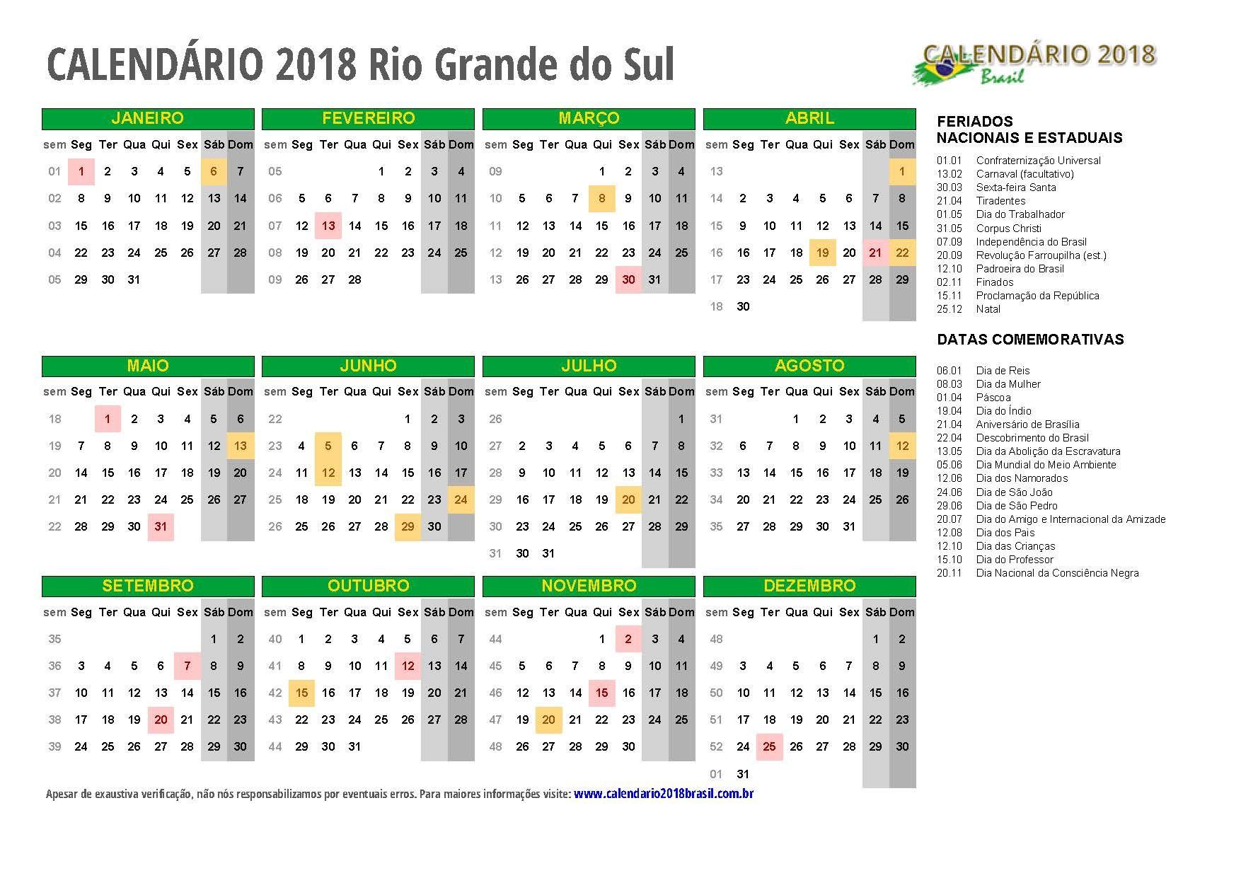 calendario 2018 Rio Grande do Sul m