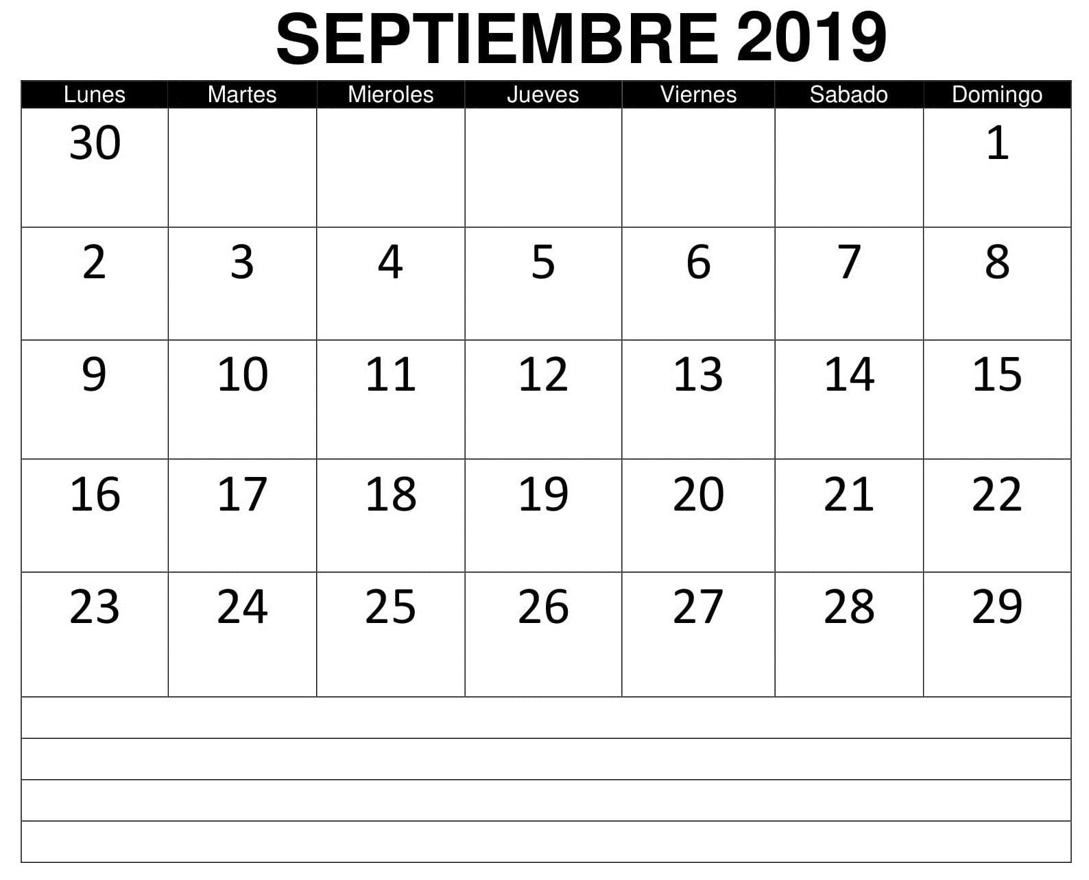 Calendario Septiembre 2019 Para Imprimir Word 1