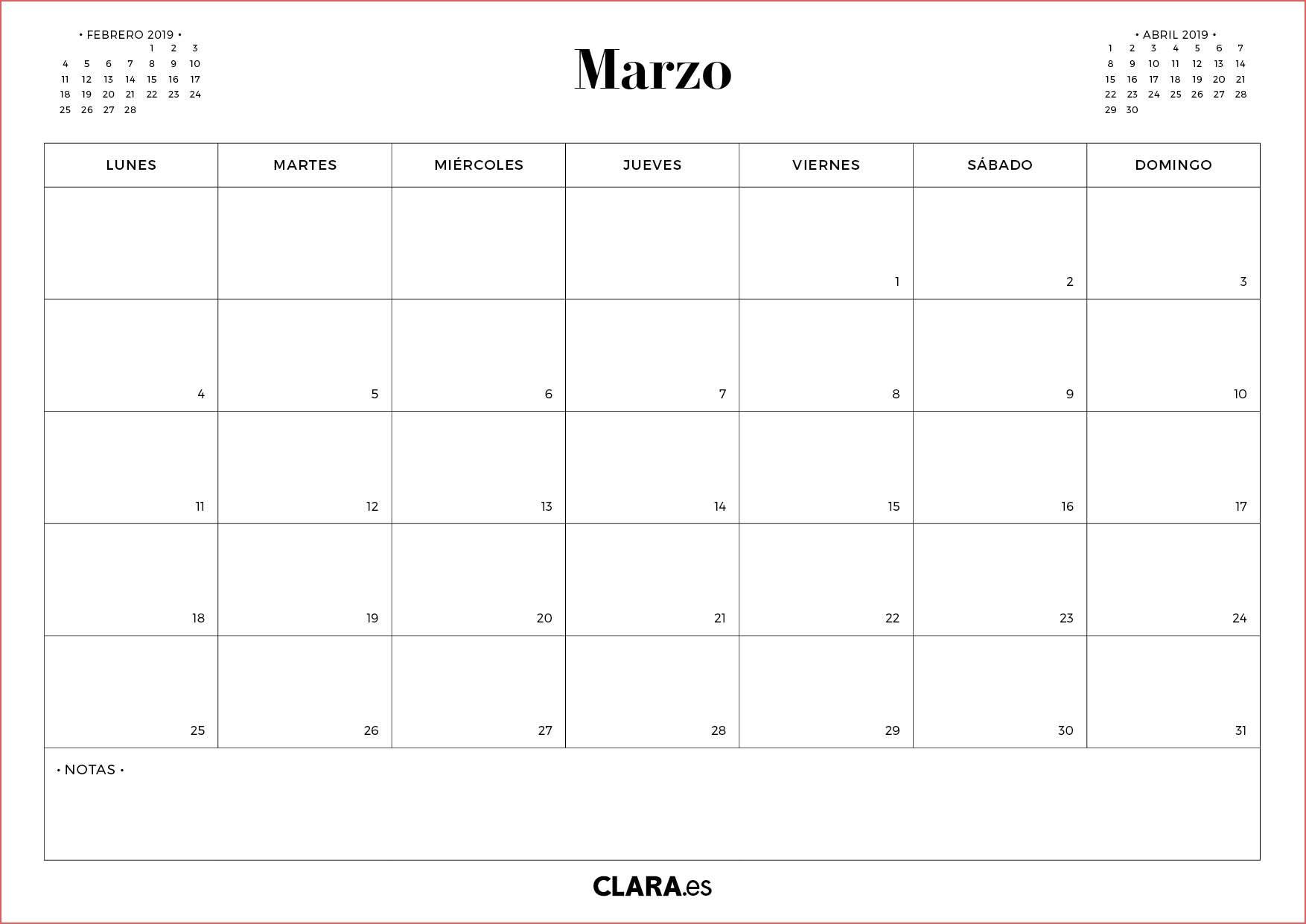 calendario marzo 2019 calendario marzo 2019 para imprimir gratis en pdf y