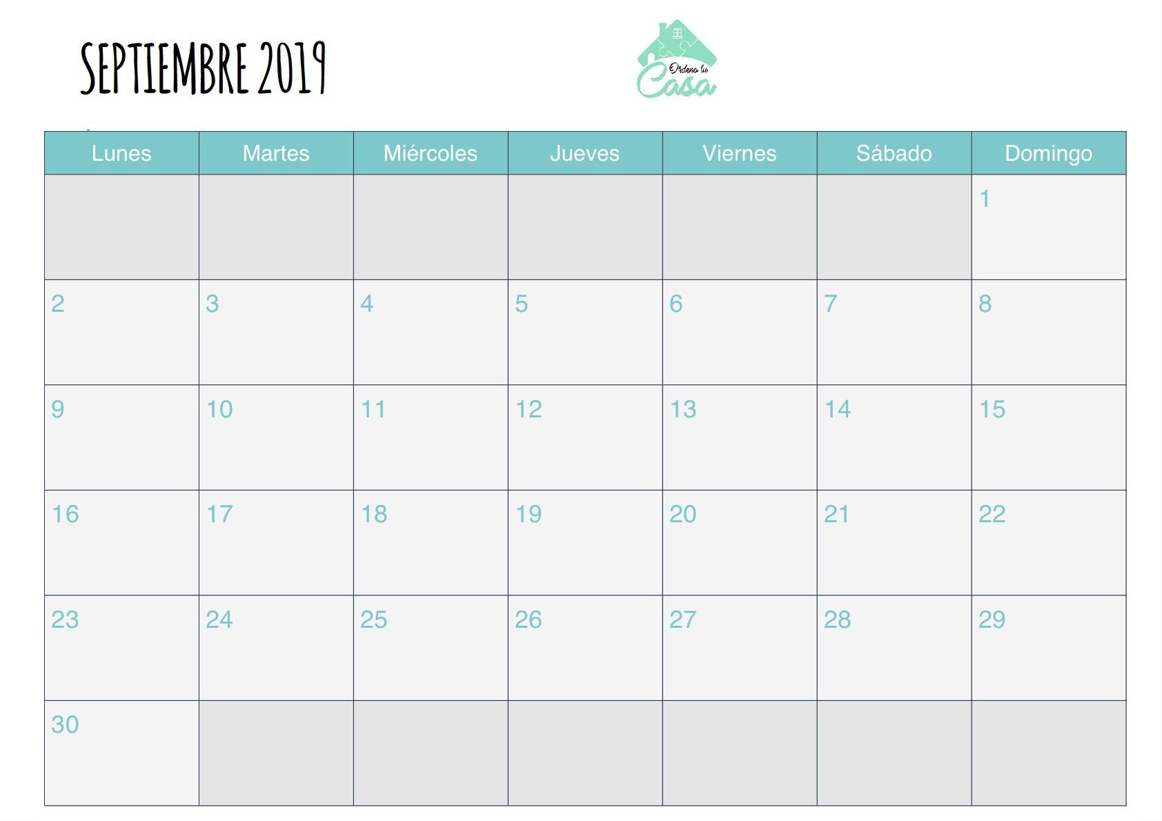calendario septiembre ordeno tu casa