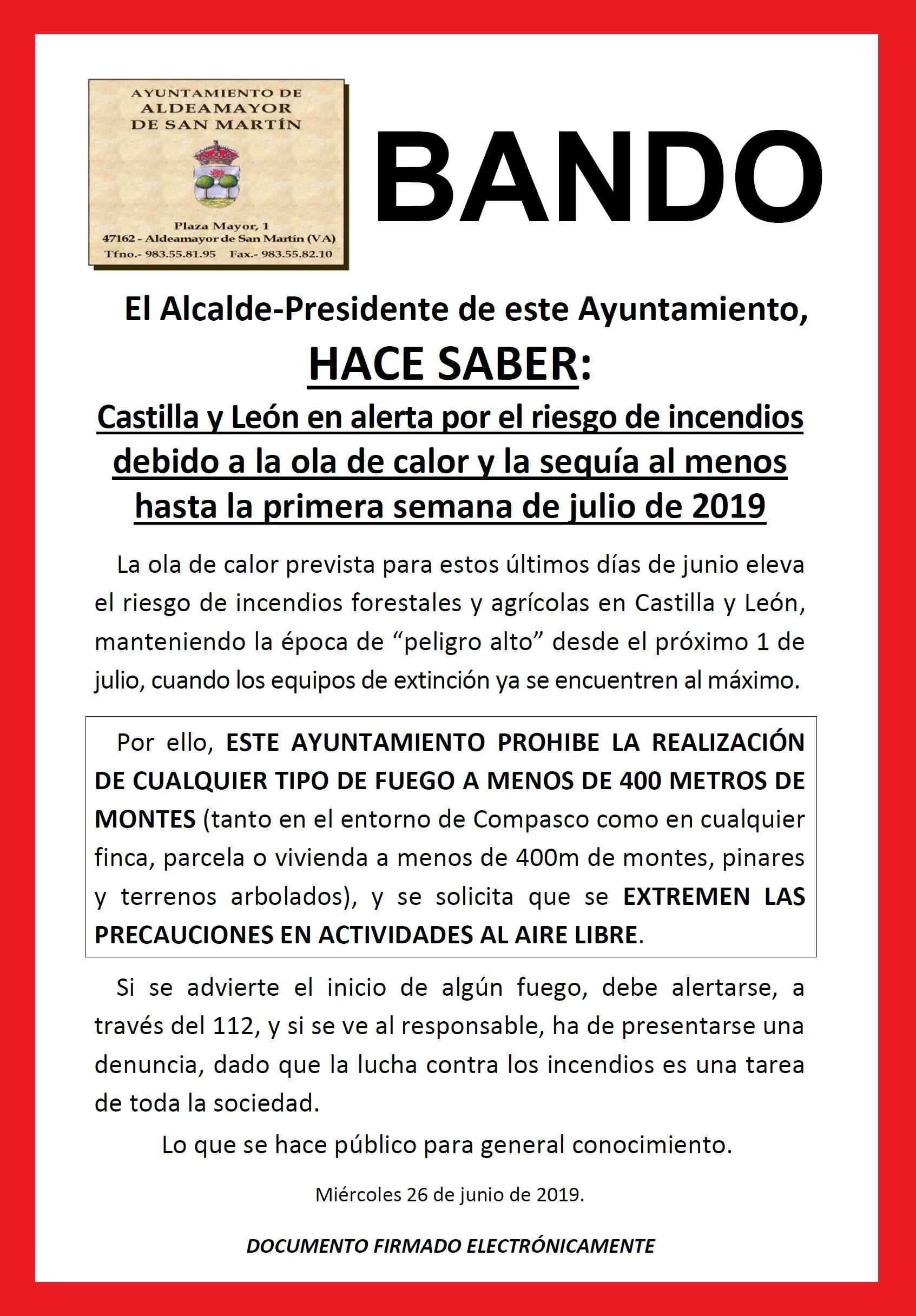 Bando Peligro de incendios Castilla y Leon Junio de 2019