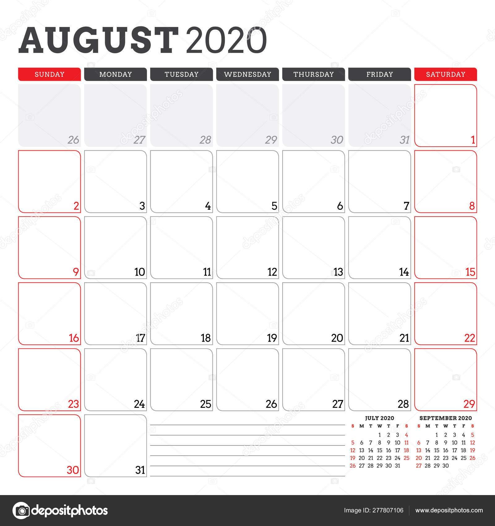 Calendario De Agosto 2020 Para Imprimir