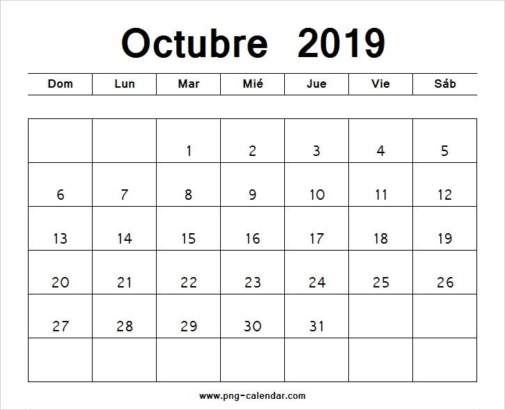 octubre calendario 2019