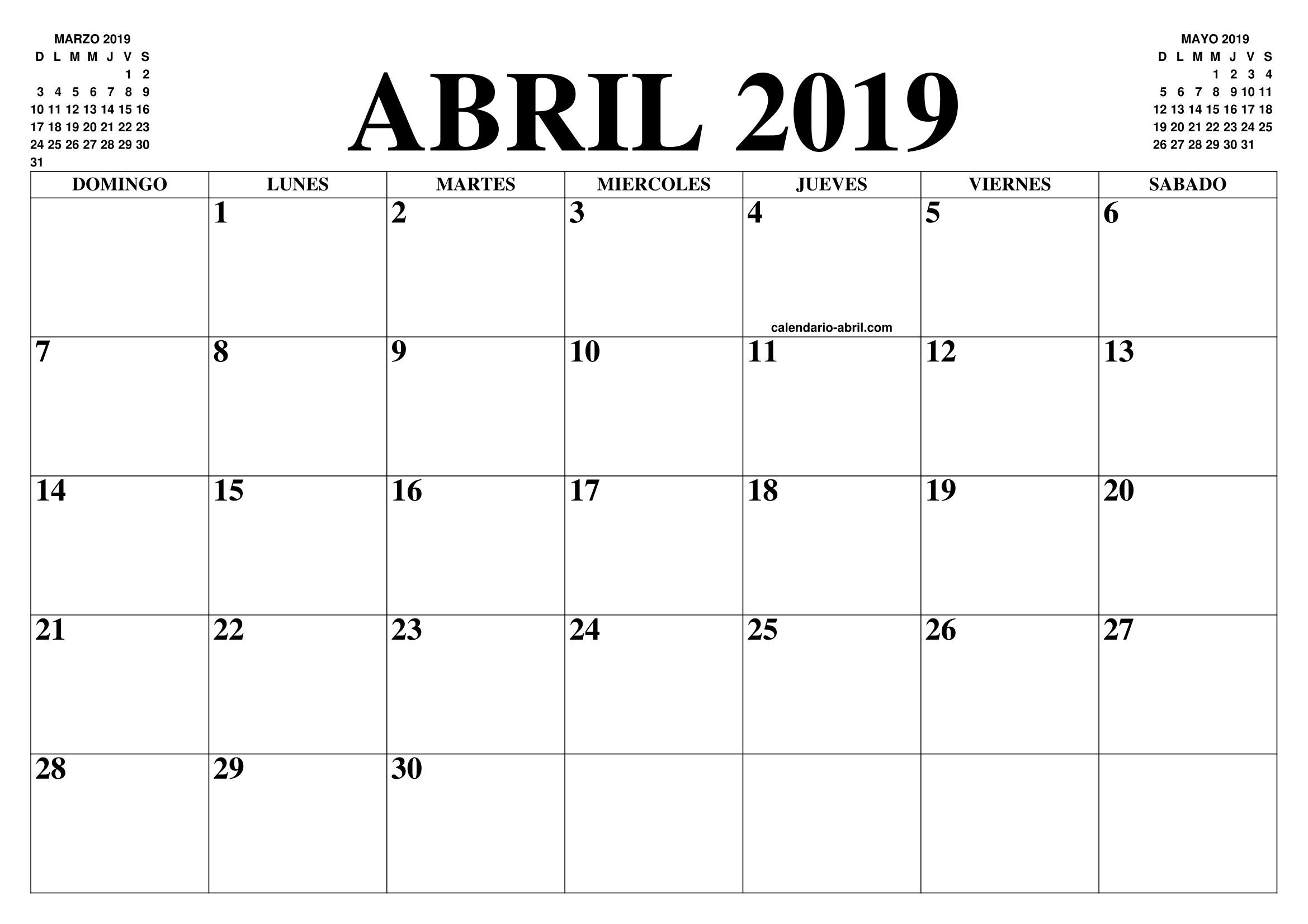 Abril 2019 Calendario Mexico 1
