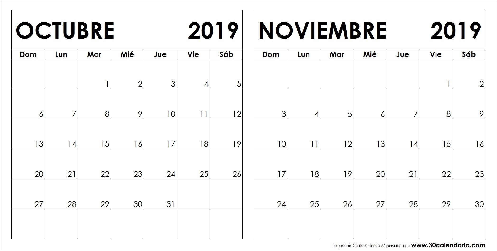 Calendario Octubre Noviembre 2019 Para Imprimir