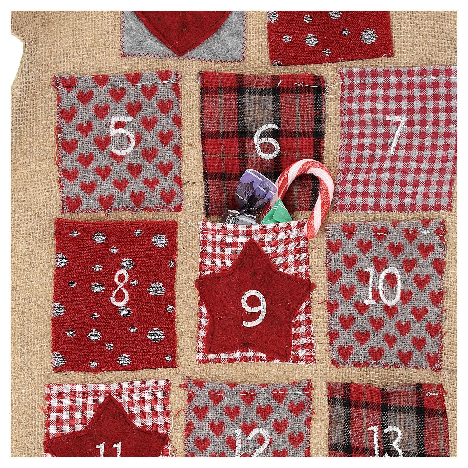 calendario adviento de arpillera arbol de navidad h 120 cm