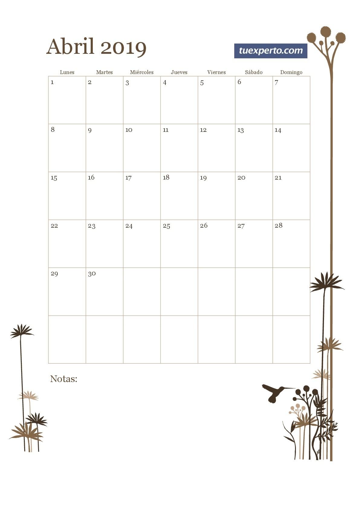 Calendario Abril 2019 Para Imprimir