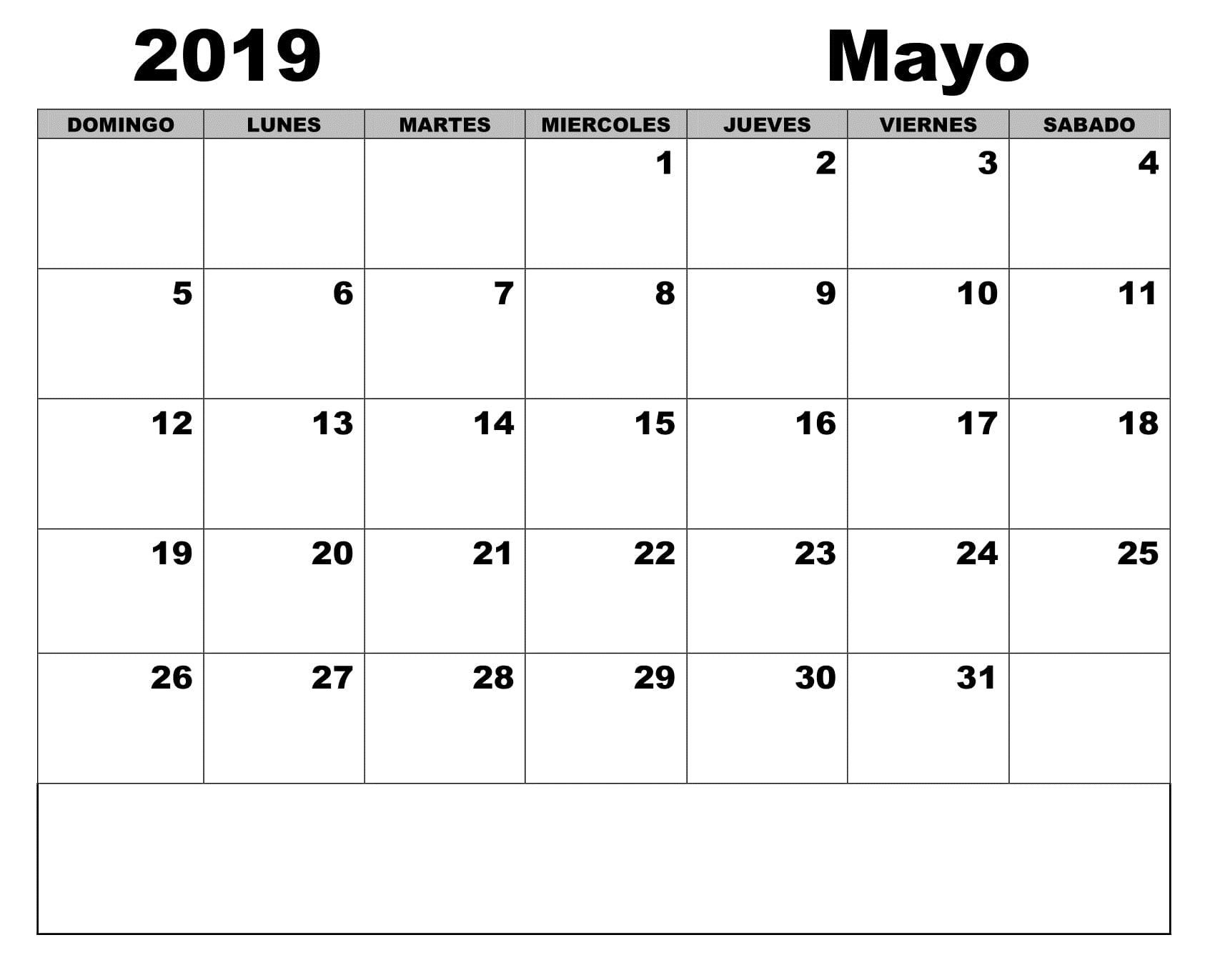 Imprimir Calendario De 2019 Más Arriba-a-fecha Calendario 2019 Word