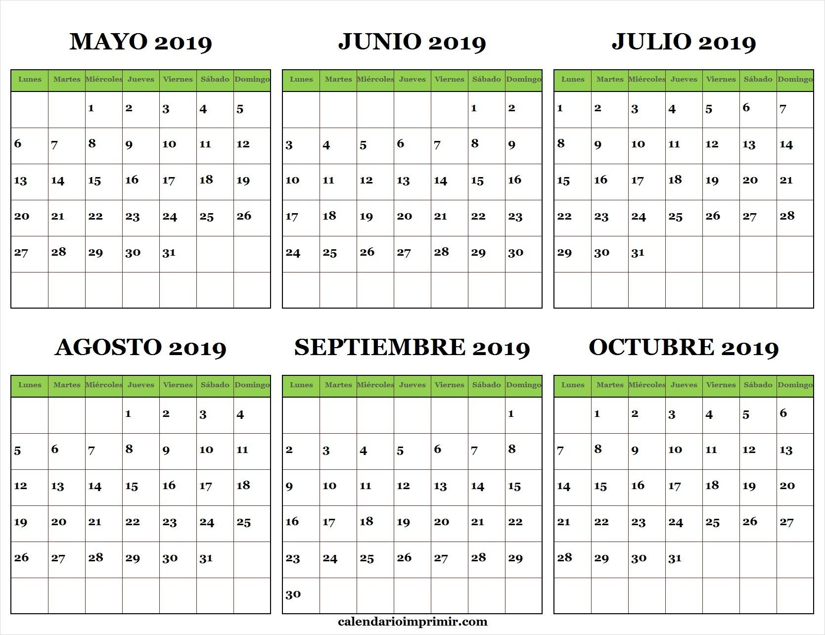 Calendario Mayo Junio Julio Agosto Septiembre Octubre 2019 Gratis Para Imprimir