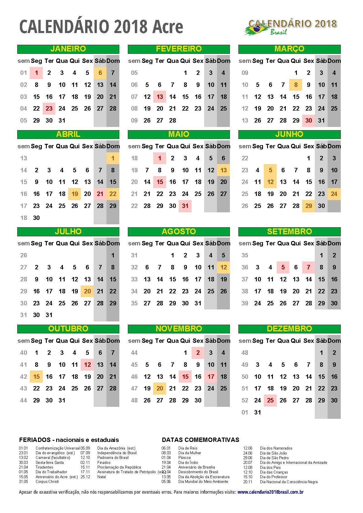 calendario 2018 Acre retrato m