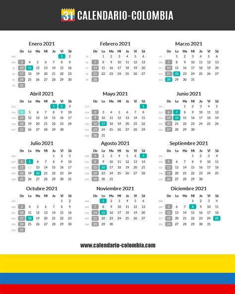 CALENDARIO 2020 Y 2021 COLOMBIA CON FESTIVOS   Calendario 2019