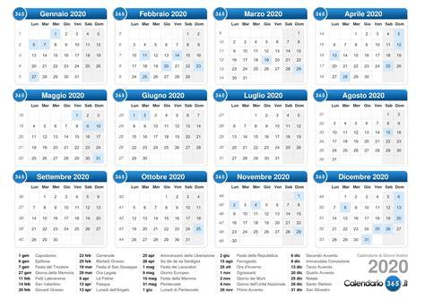 CALENDARIO 2020 ITALIANO   Calendario 2019