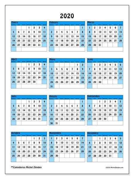 Calendario 2020 Por Semanas Para Imprimir Calendario 2019