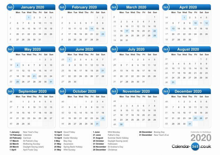 Calendar 2020 Uk Recientes Printable Calendar Uk 2020 Numerocalendrieraventaimprimer