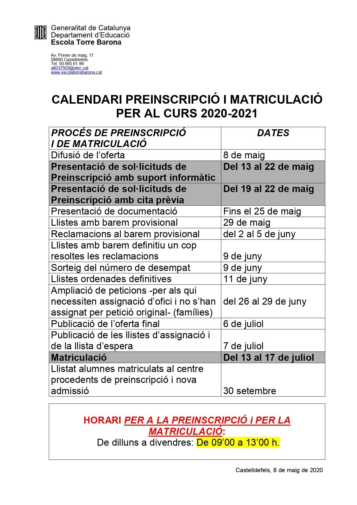 Calendari Pares Preinscripció i Matriculació 2020 21 page 0001