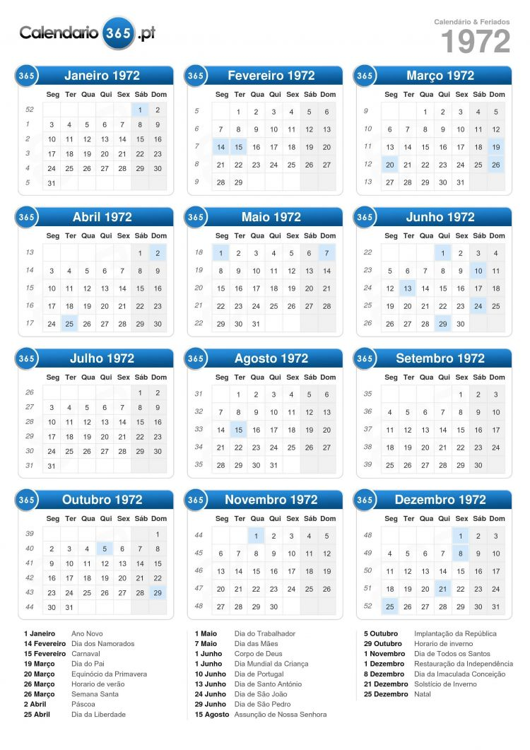 Calendário 2020 Com Feriados Portugal Para Imprimir Más Recientes Calendário 1972
