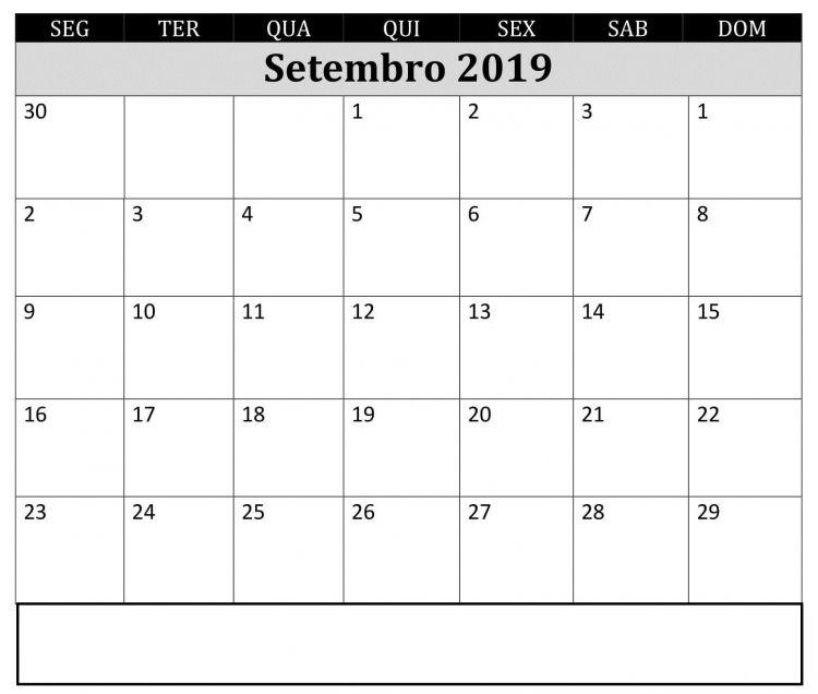 Calendario 2020 Descargar Excel Más Recientemente Liberado Editavel Calendário Setembro De 2019 Imprimir