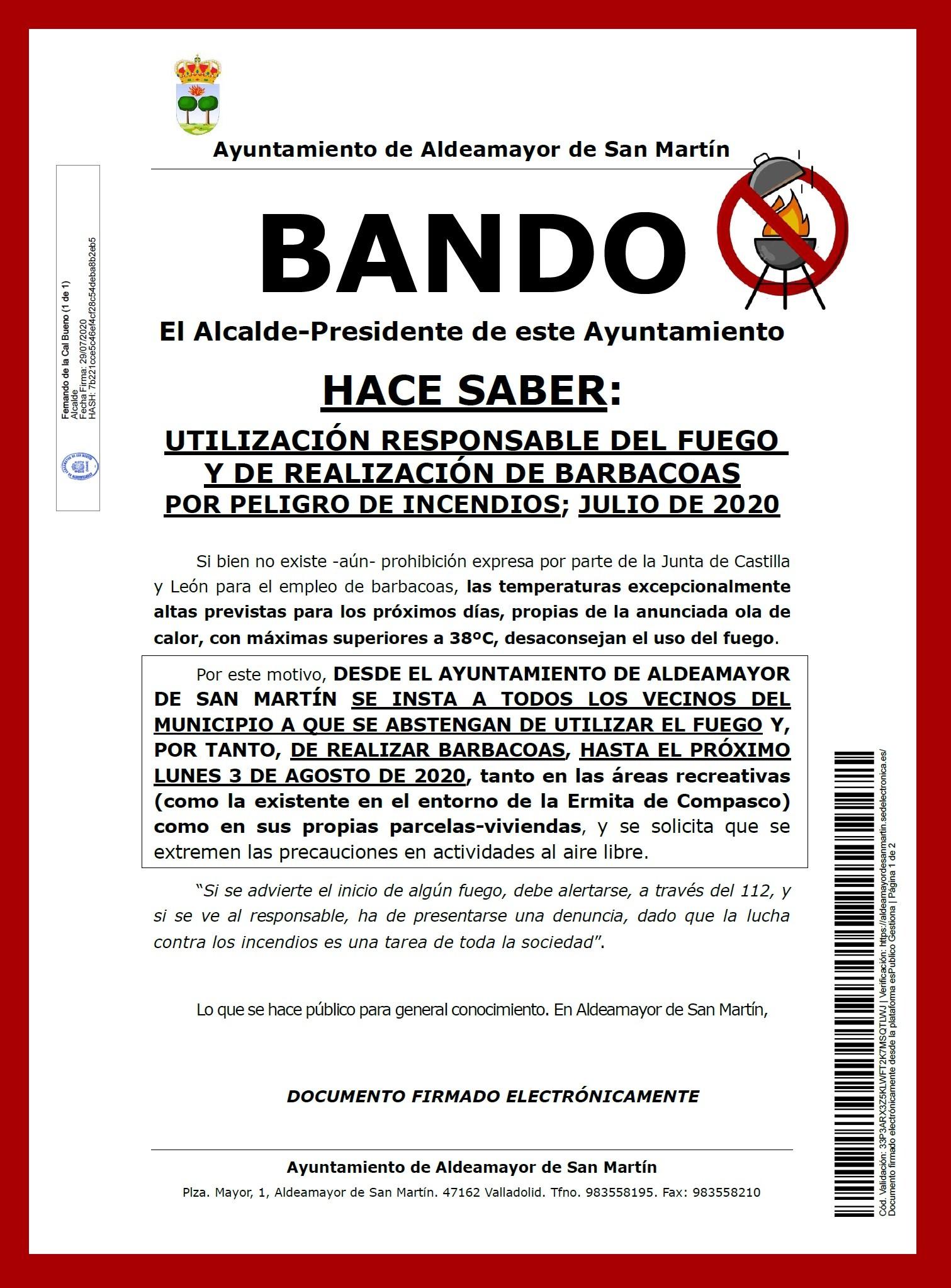 Bando precaucion uso del fuego barbacoas y peligro de incendios Julio 2020 Firmado