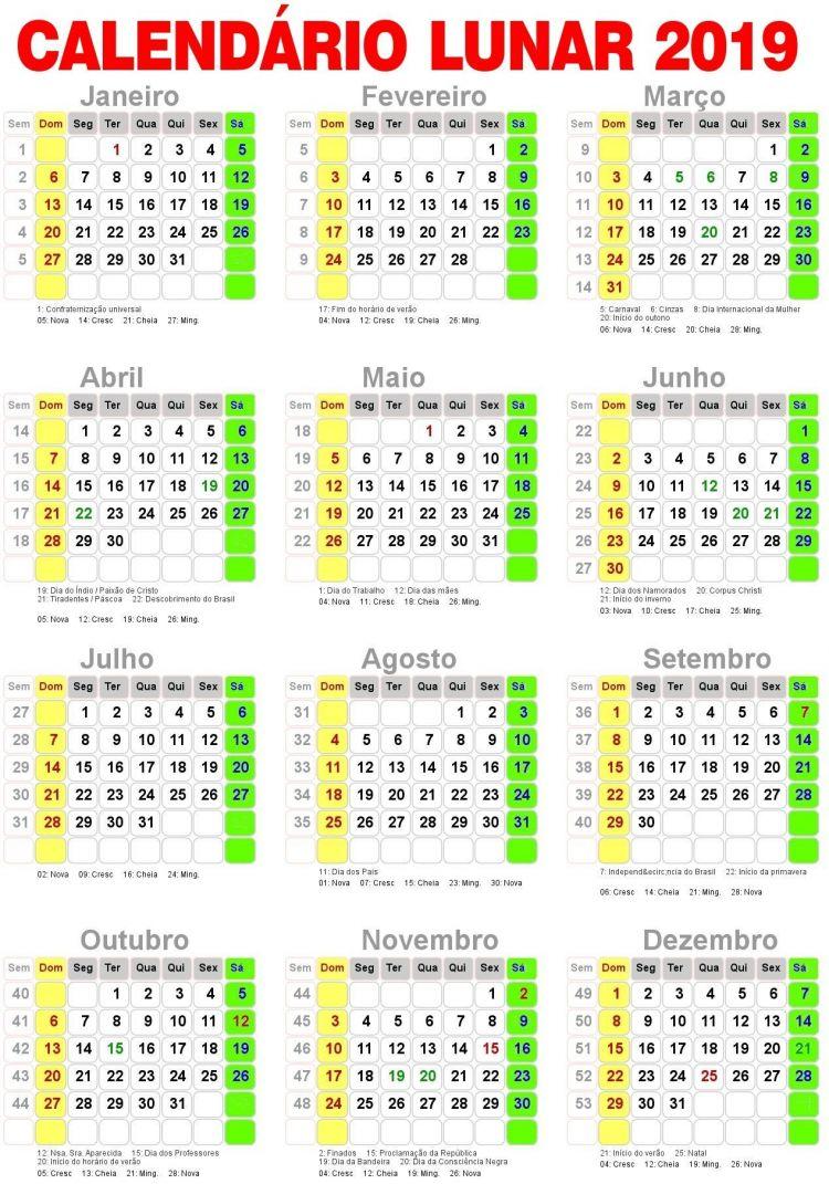 Calendario 2020 Feriados Pdf Mejores Y Más Novedosos Fruit Calendario Lunar 2019 Imagens