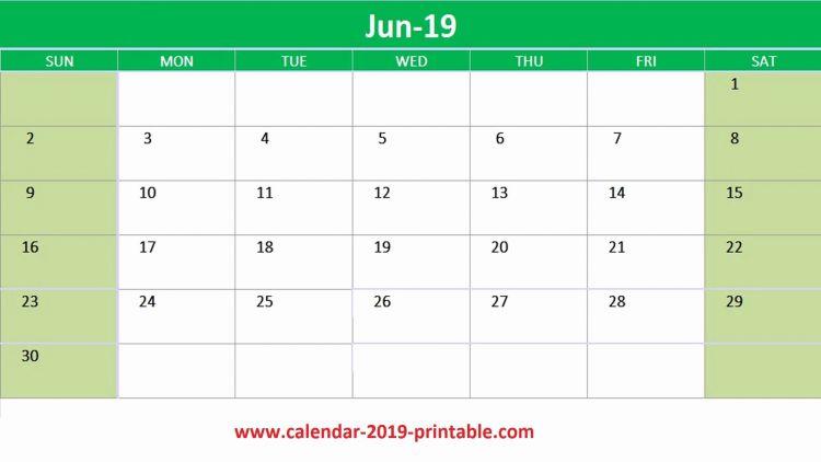 Calendario 2020 In Excel Más Recientes Editable June 2019 Calendar Excel June June2019
