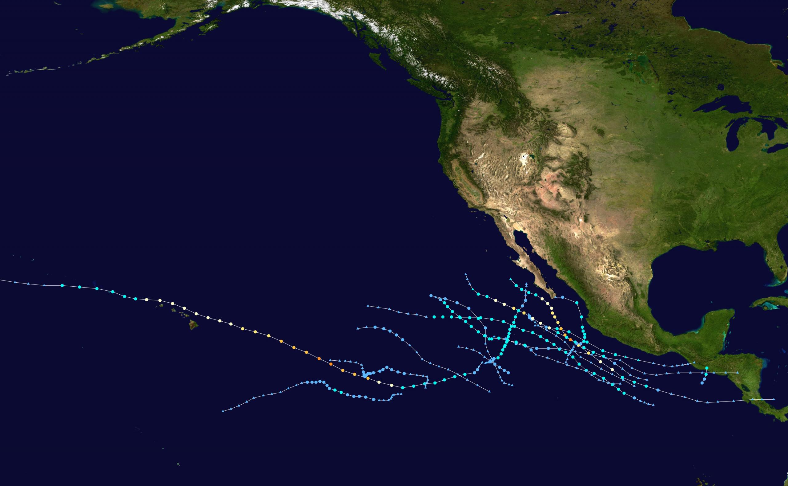 2020 Pacific hurricane season summary map
