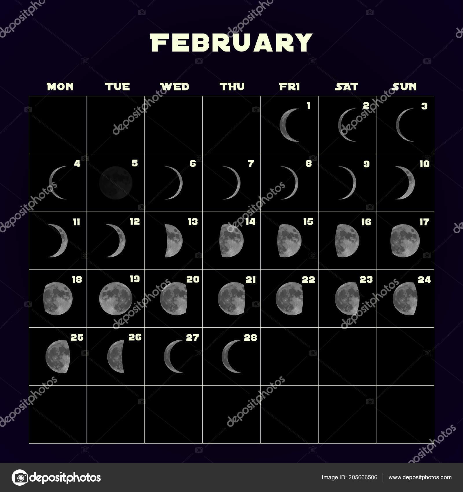 depositphotos stock illustration moon phases calendar for 2019