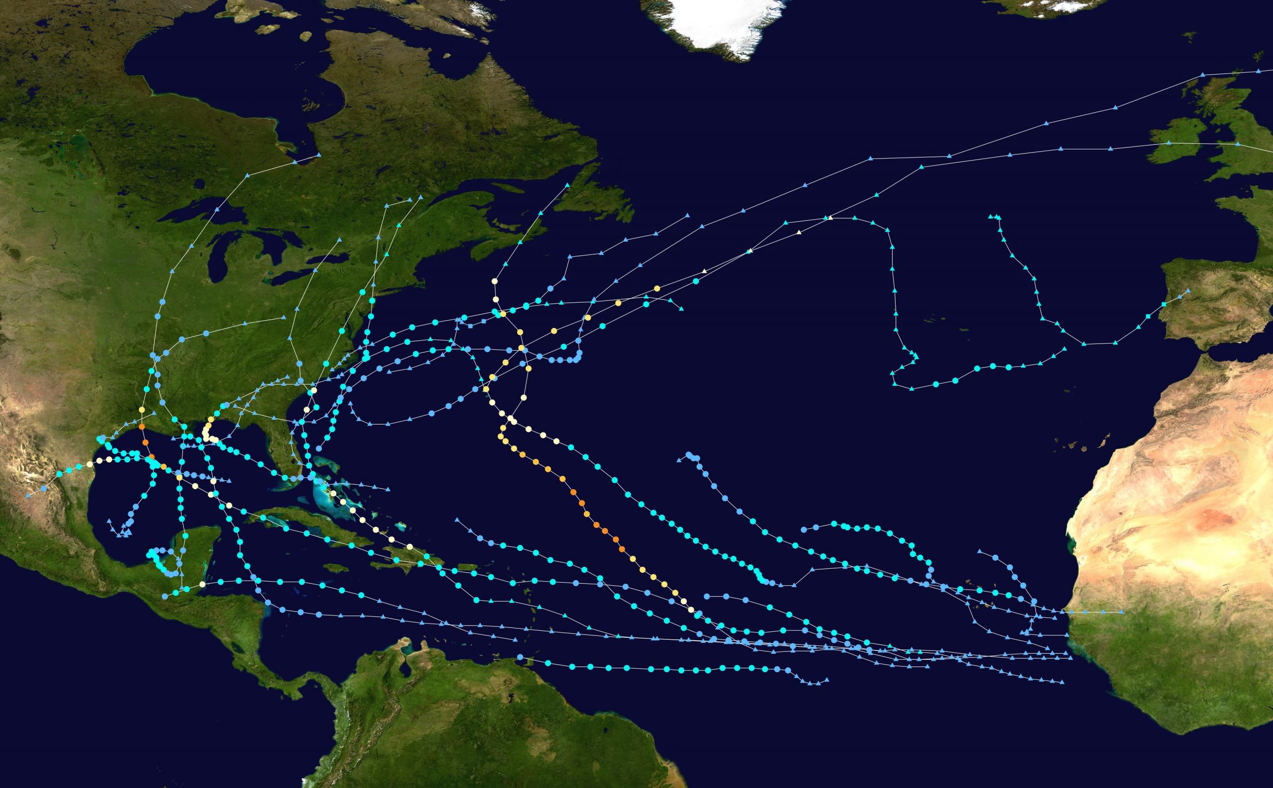 2020 Atlantic hurricane season summary map