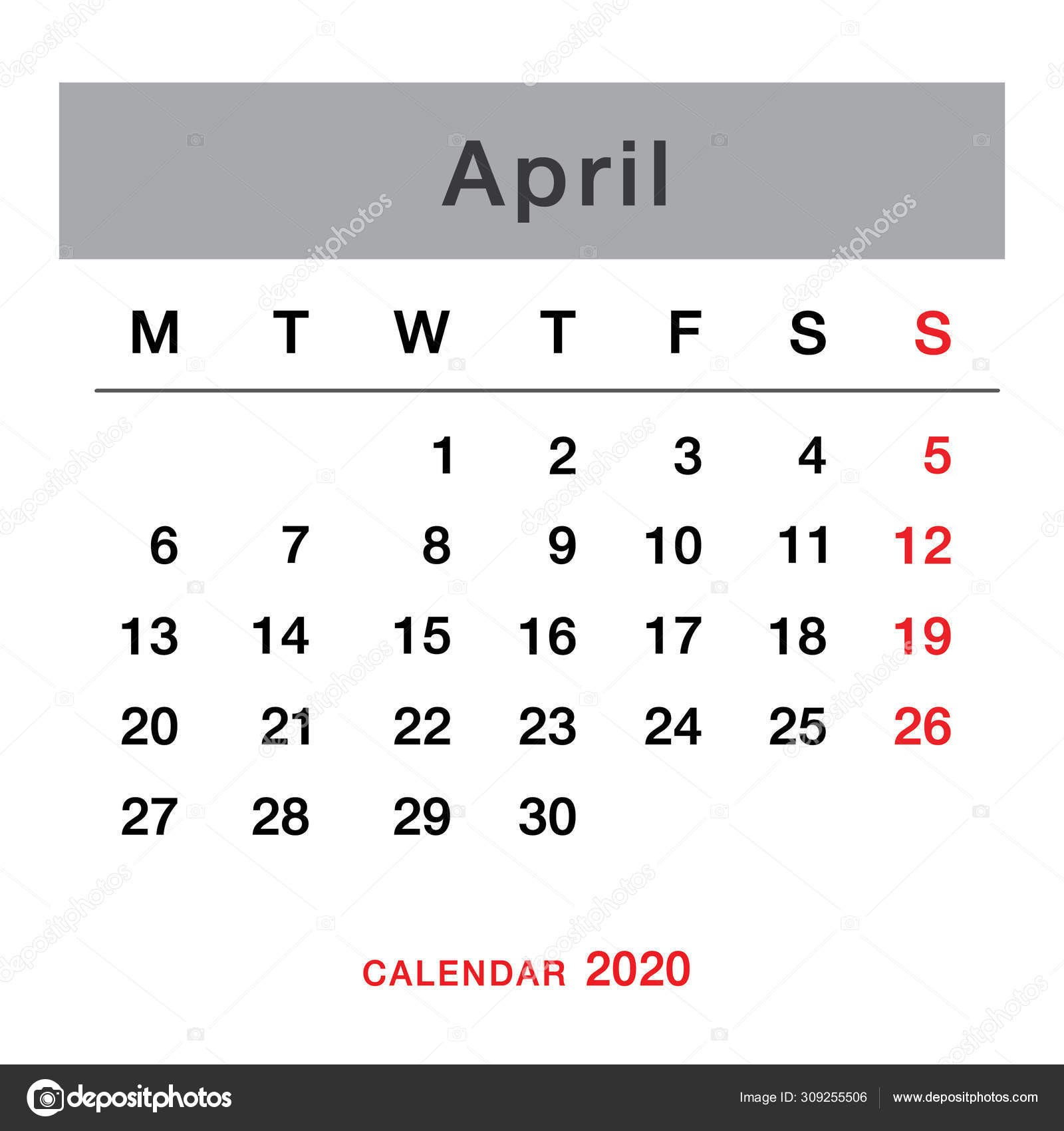 depositphotos stock illustration april 2020 planning calendar simple