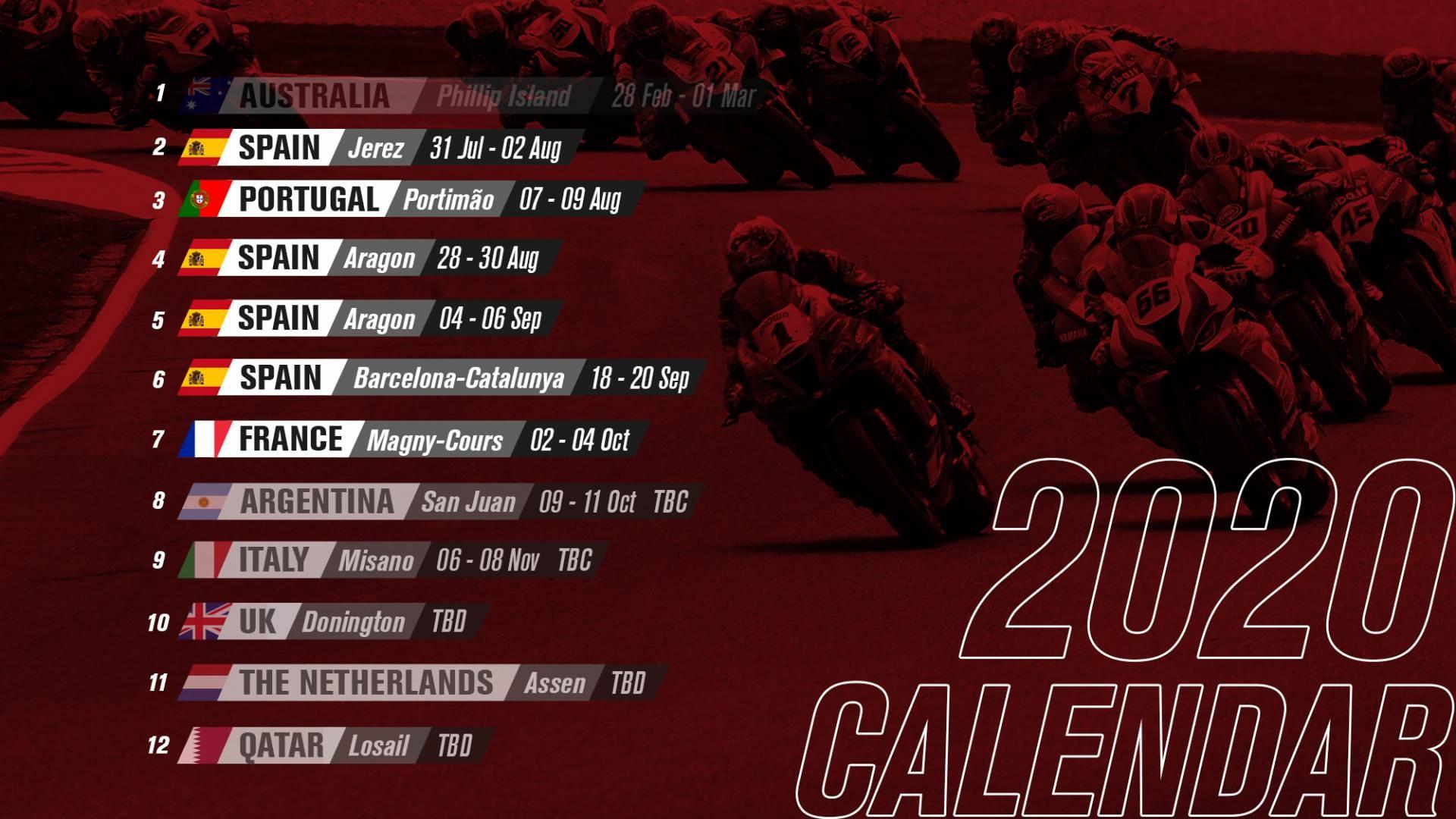 SBK 2020 Calendar top