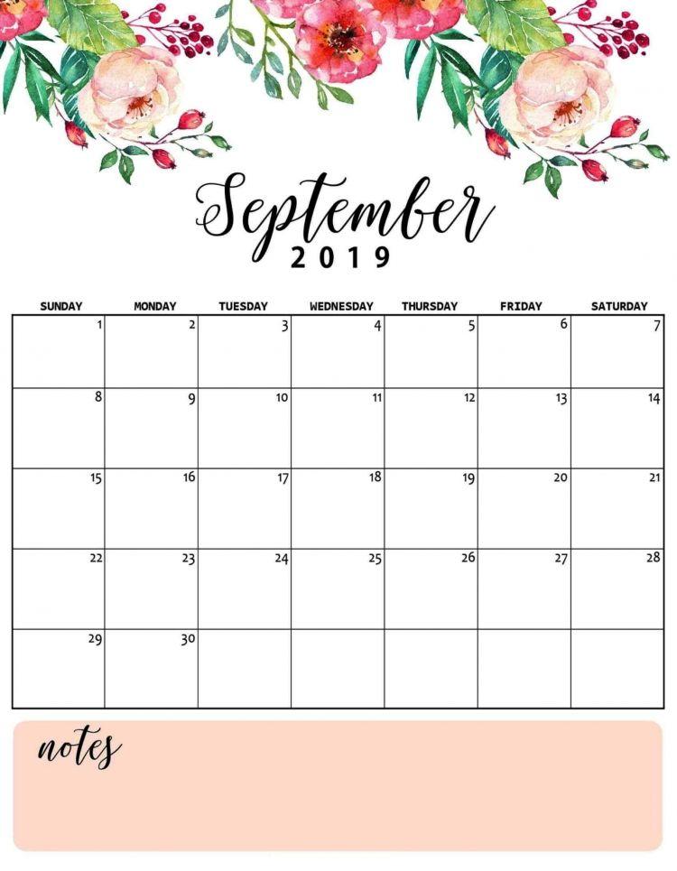 Calendario 2020 Para Imprimir Por Meses Más Caliente Floral September 2019 Calendar