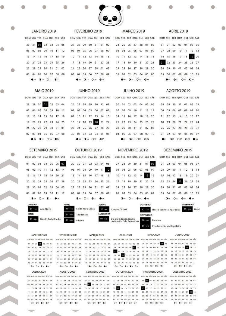 Calendario 2020 Recientes Planner 2020 Panda Menino Calendario Fazendo A Nossa Festa