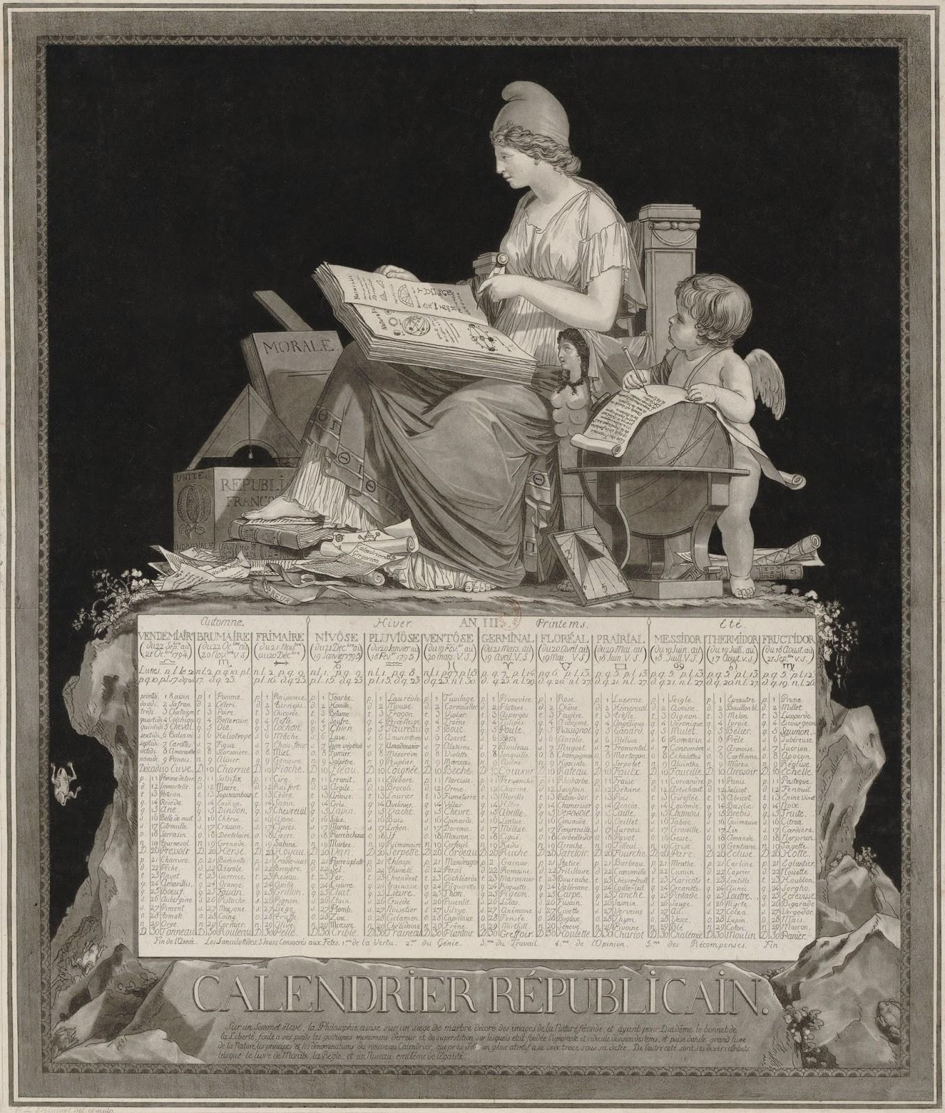 Calendário Revolucionário Francês ou Republicano de 1749 por Philibert Louis Debucourt