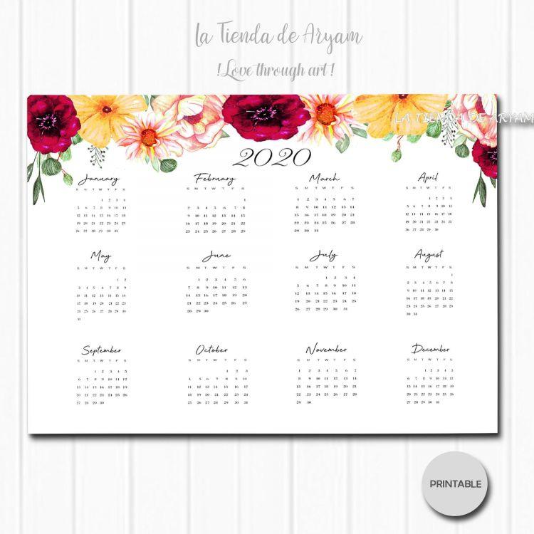 Calendario 2020 Semanas Más Actual Calendario Anual 2020 Imprimible Descarga Inmediata