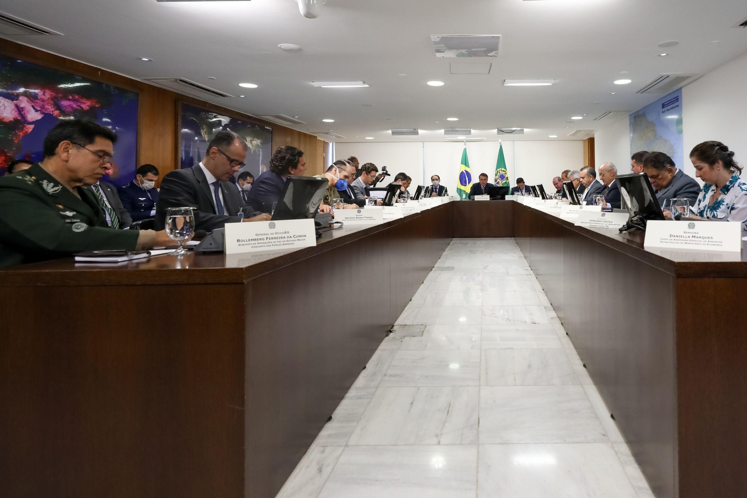 Braslia Jair Bolsonaro durante videoconferência Governadores do Sudeste tratam assuntos sobre a pandemia de Covid 19