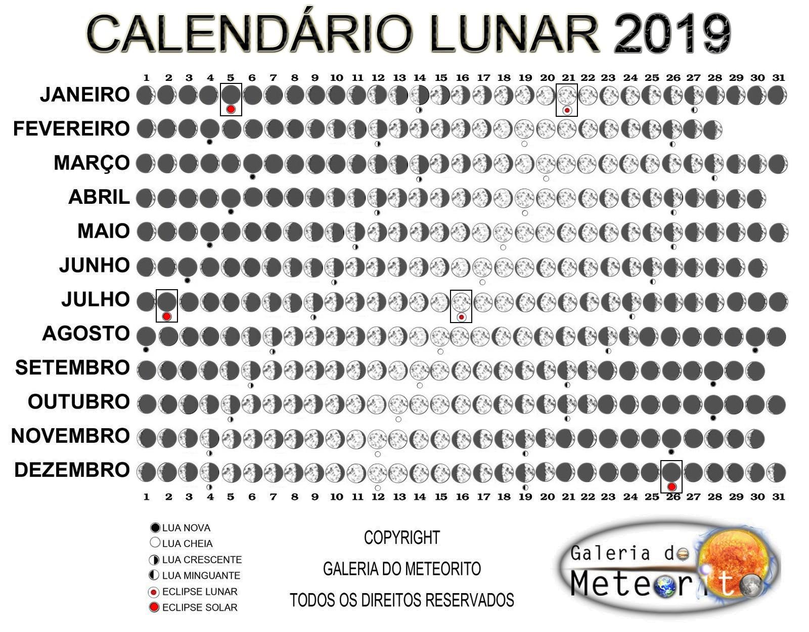 Calendario Lunar 2019 Branco