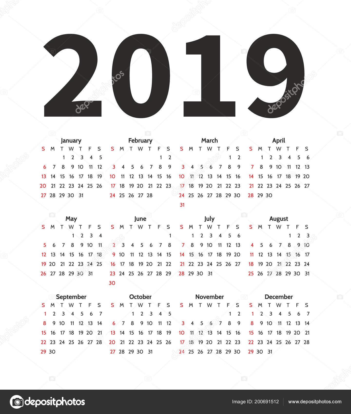 depositphotos stock illustration calendar 2019 year vector design