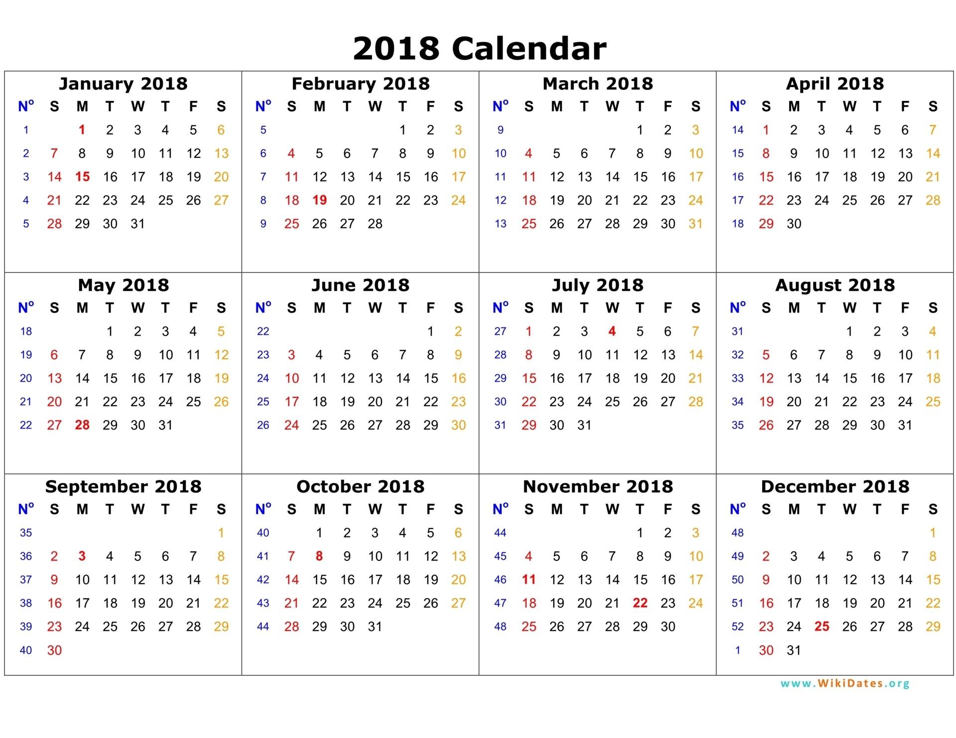2018 calendar template printable free
