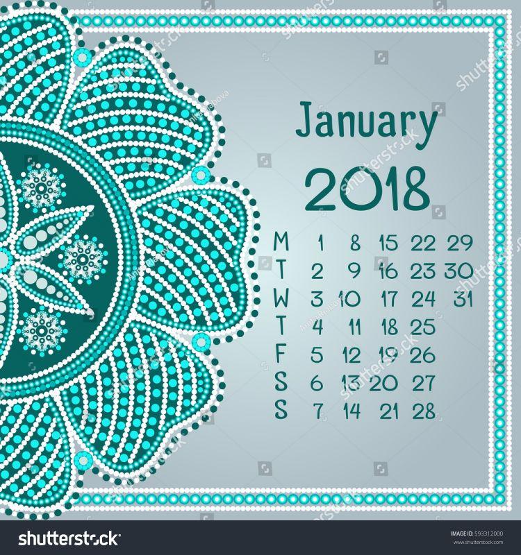 Calendario 2020 Vetor Gratis Más Reciente Calendar Mandala Month January Dot Painting Stock Vector
