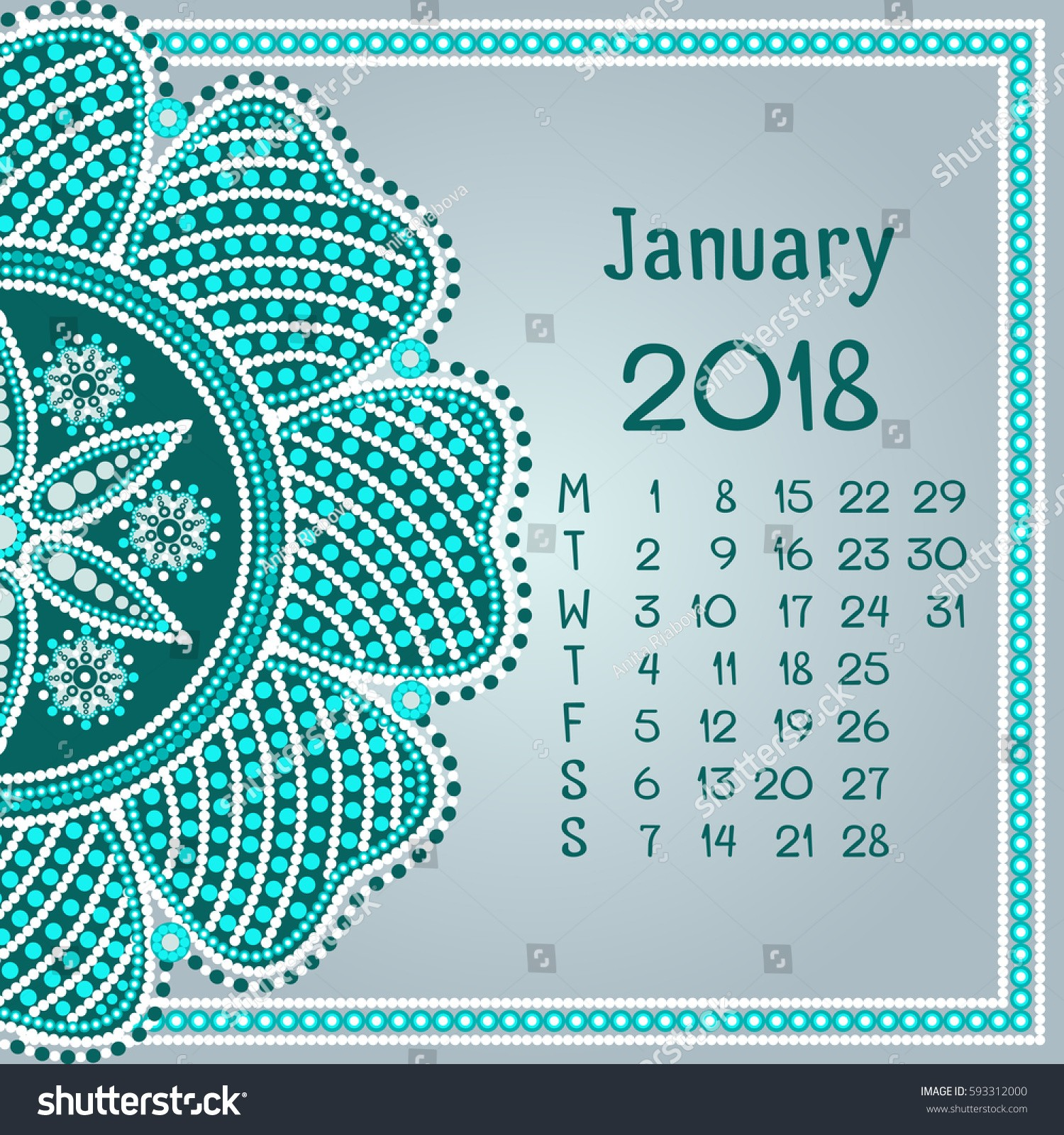 stock vector calendar with mandala for month january dot painting
