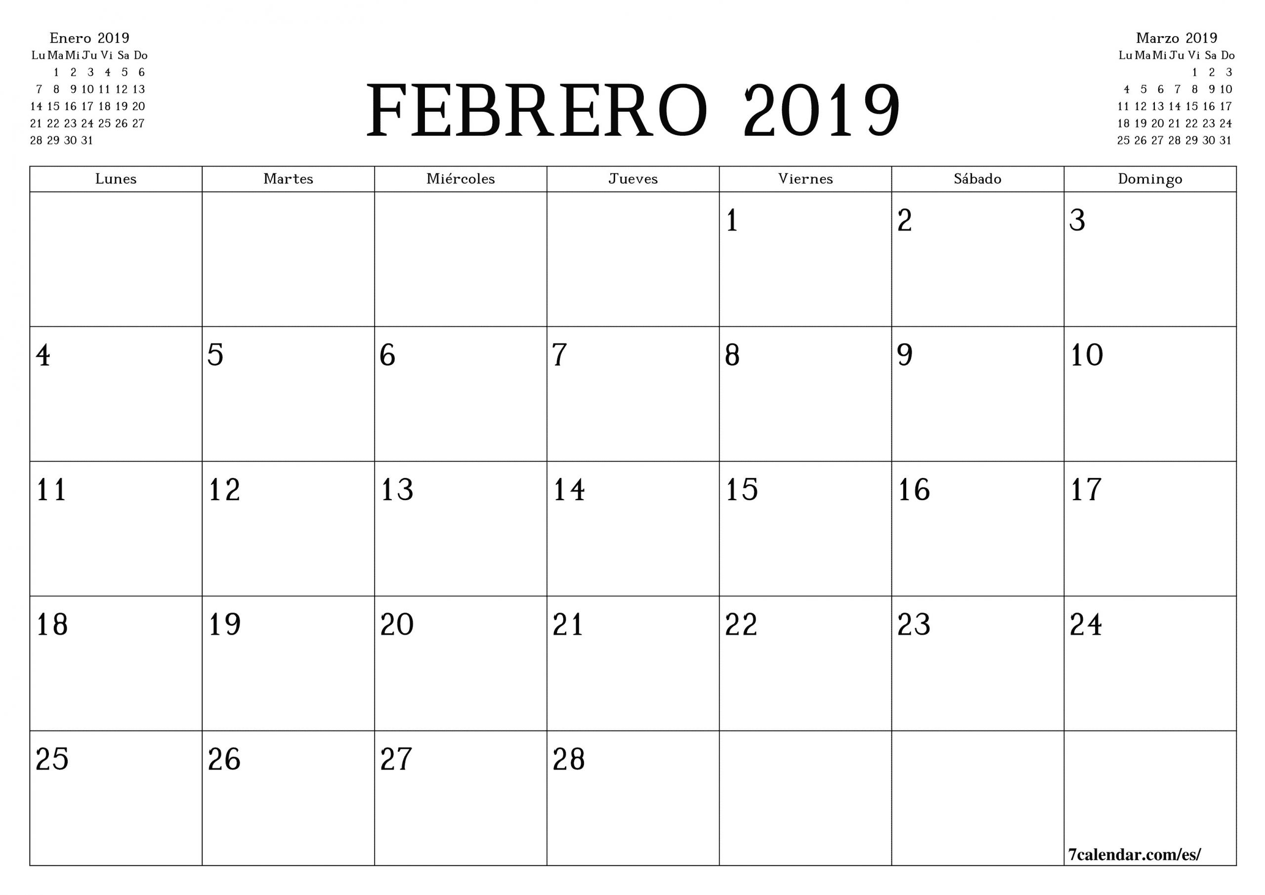Printable February 2019 Blank Calendar A4 A3 Legal Paper Sizes Free es 1