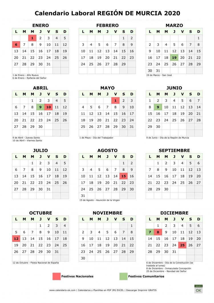 Calendario Laboral 2020 Festivos Nacionales Más Actual Pin En Calendarios Laborales 2020