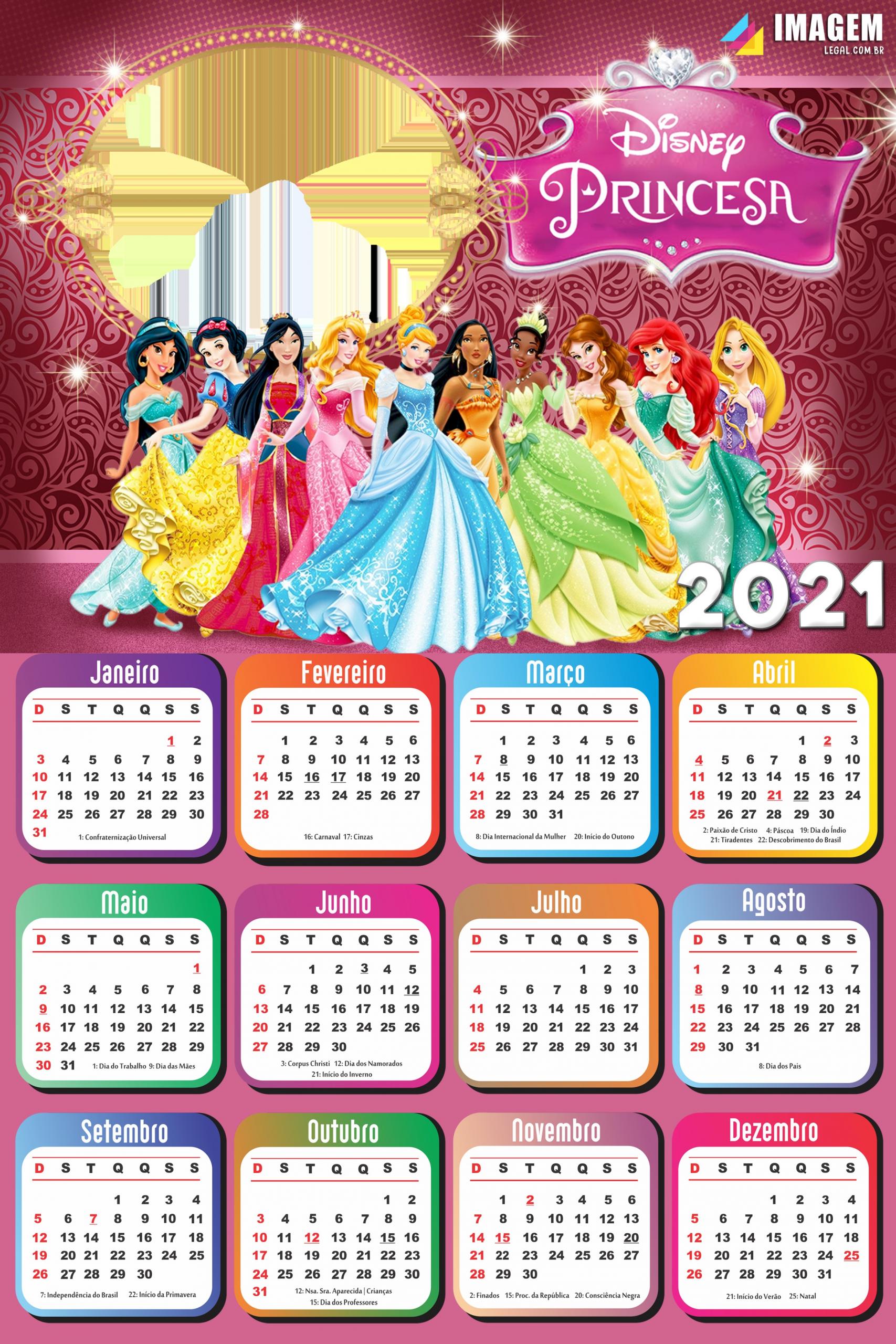 Calendário 2021 Princesas da Disney para Foto Montagem