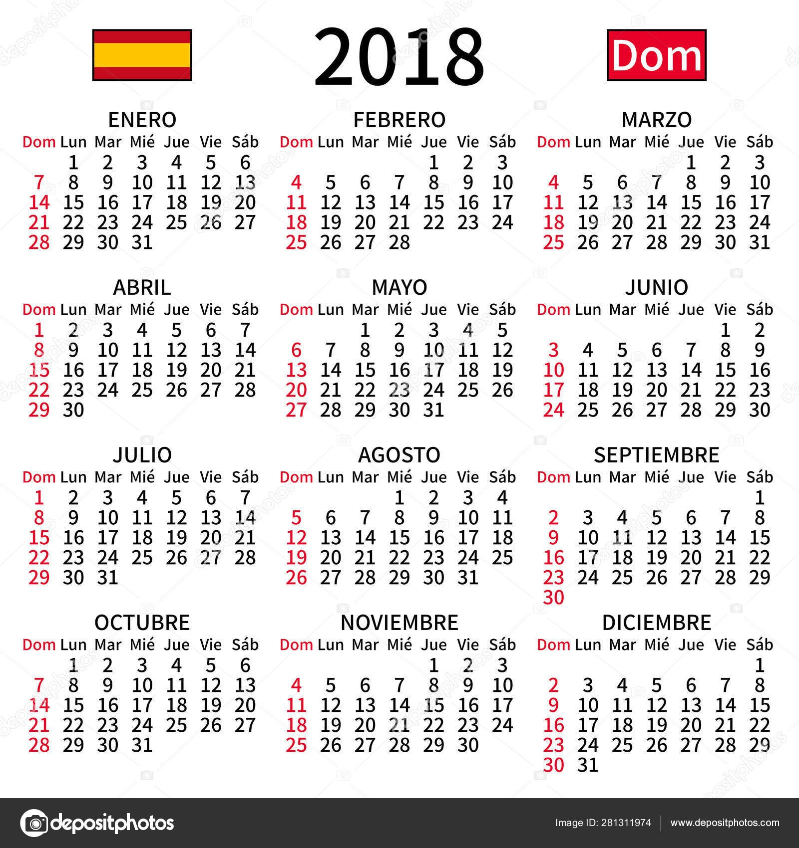 depositphotos stock illustration spanish calendar 2018 sunday