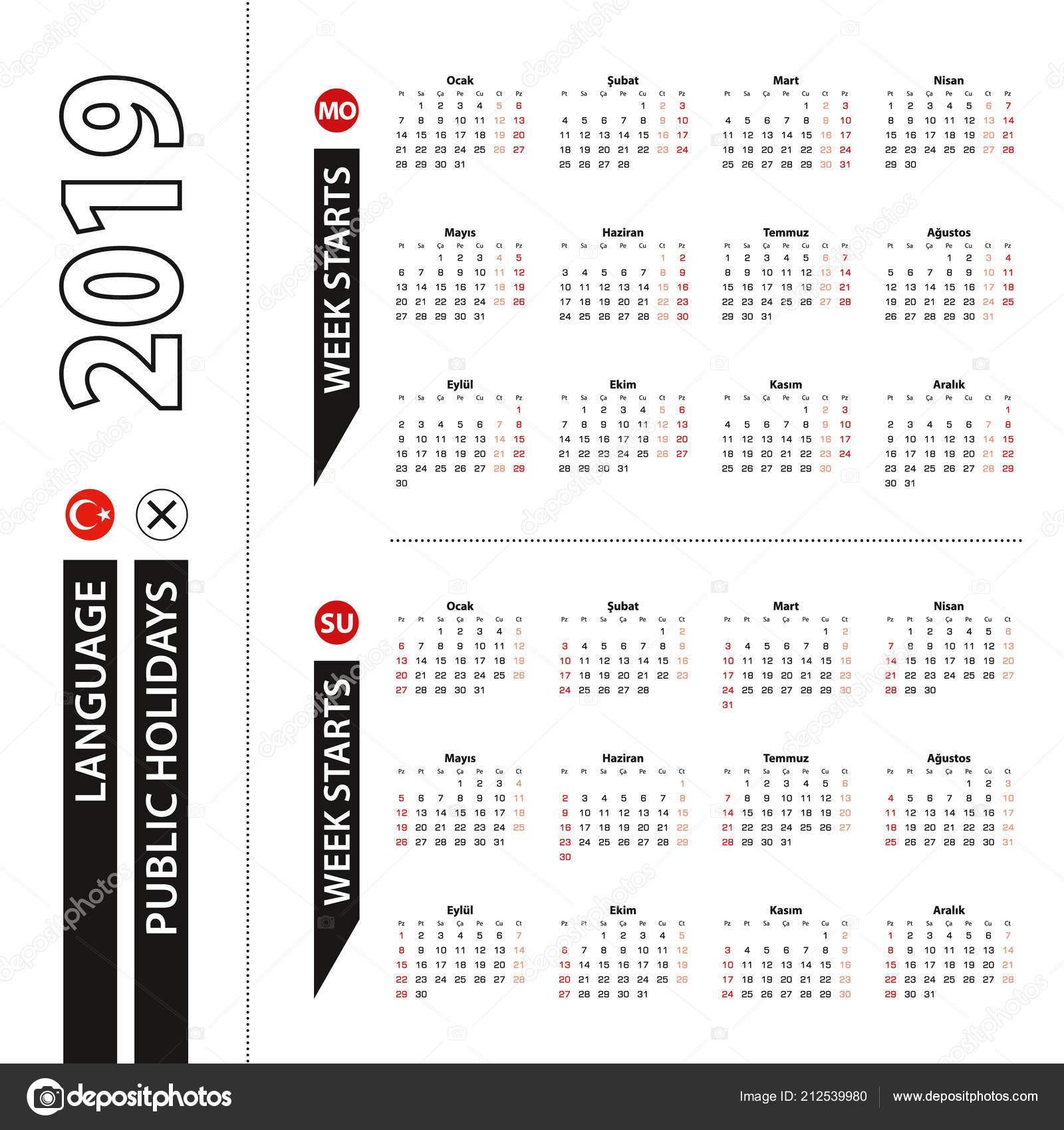 depositphotos stock illustration two versions 2019 calendar turkish