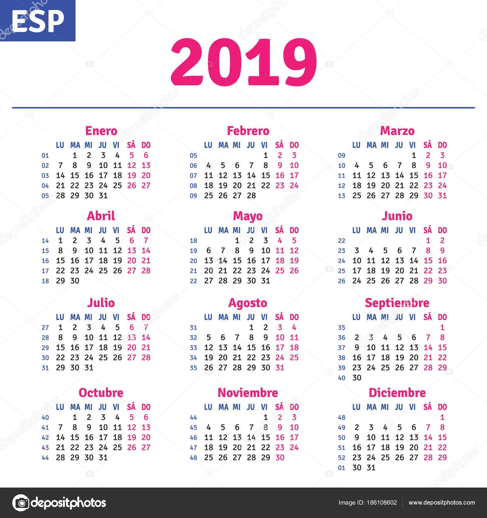 calendario con semanas numeradas 2018 mas caliente calendario 2019 espac2b1ol vector of calendario con semanas numeradas 2018