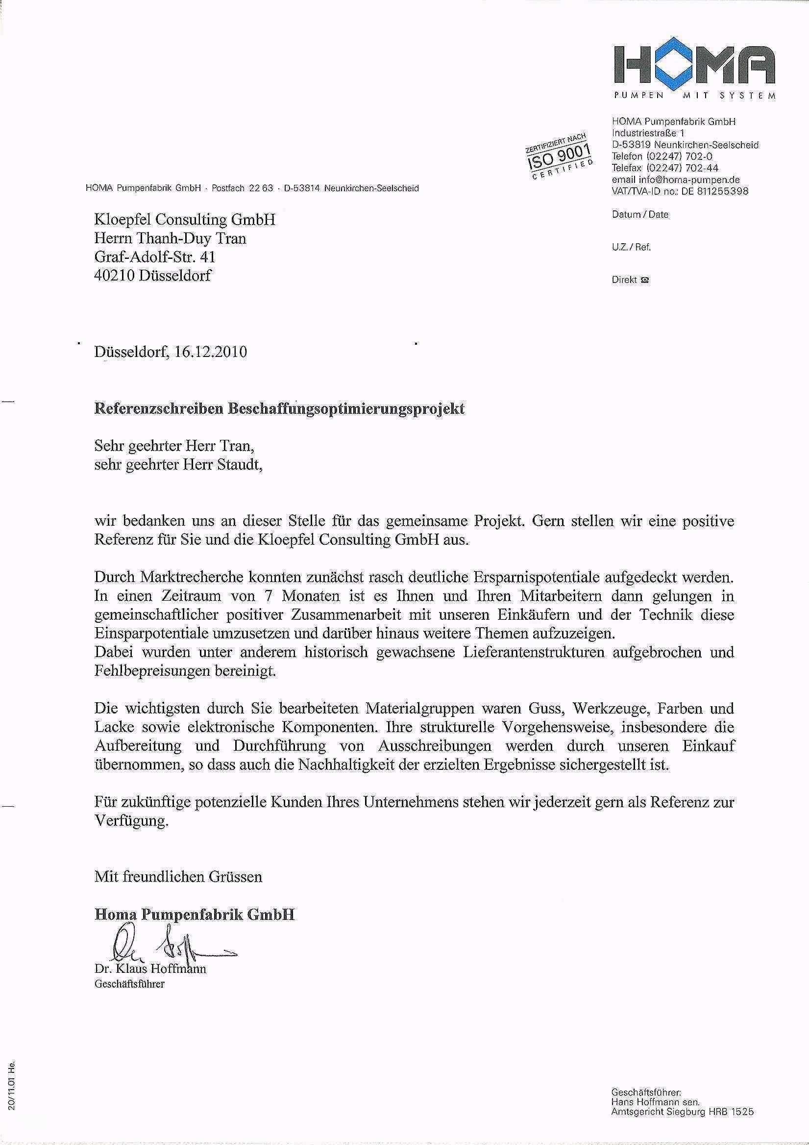 Referenzschreiben Vorlage Hubscher Kloepfel Consulting Gmbh Homa Referenzschreiben Referenzschreiben Vorlage