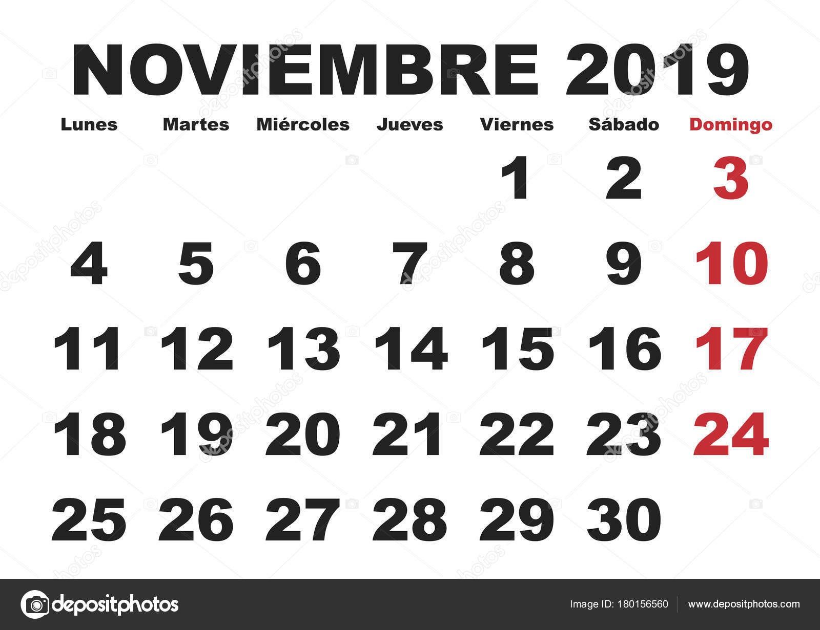 depositphotos stock illustration noviembre 2019 wall calendar spanish