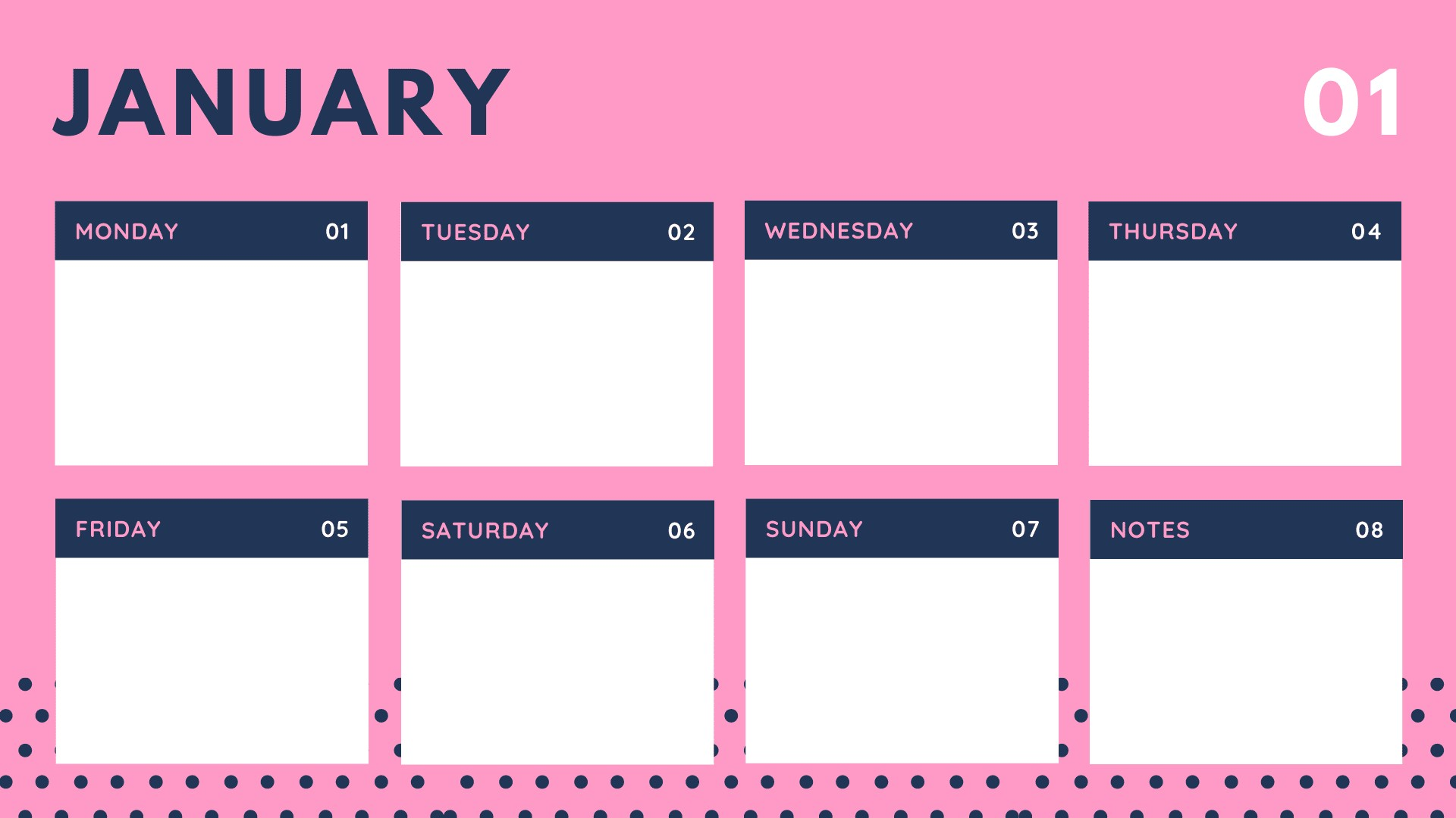 Colorful Simple Dotted Weekly Calendar